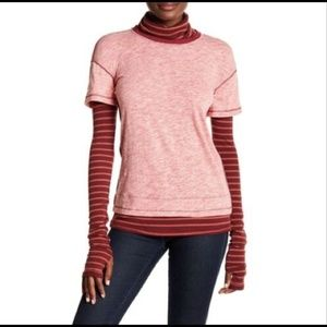 We The Free People Pink Striped Long Sleeve Top